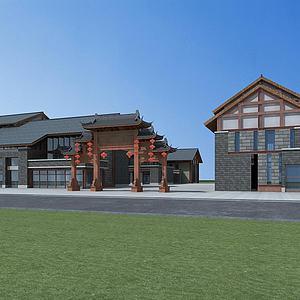 新中式商业街模型3d模型