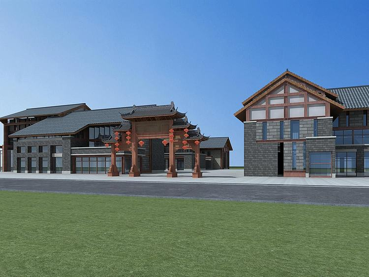新中式商业街模型
