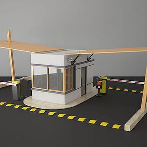 现代停车场收费亭门禁亭3d模型