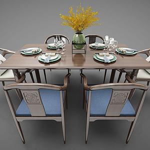 新中式风格餐桌椅3d模型