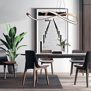 北欧餐桌椅组合3d模型