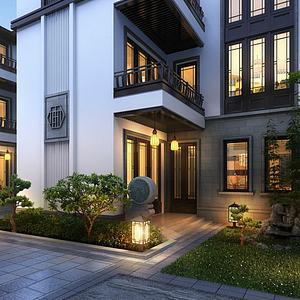 中式古建別墅模型3d模型