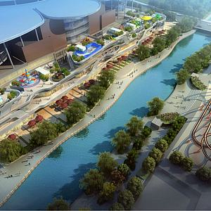滨水商业景观模型3d模型
