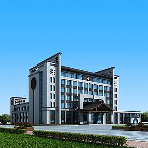 新中式医院办公楼3d模型