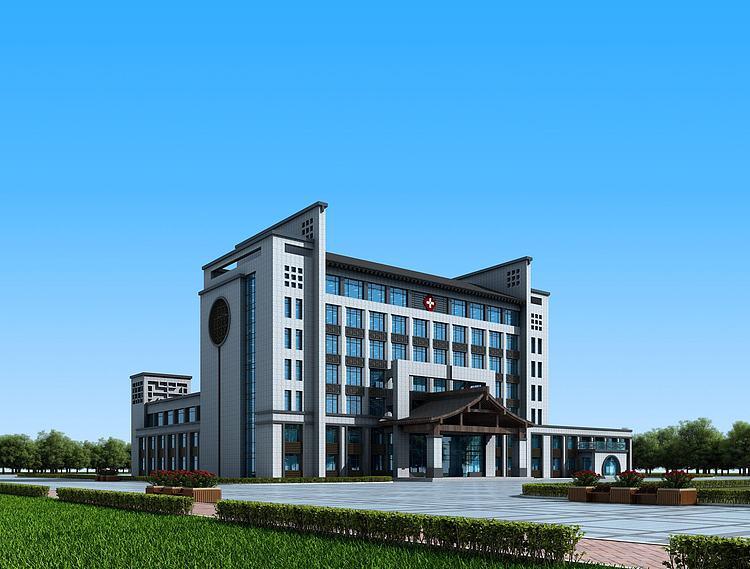 新中式医院办公楼模型