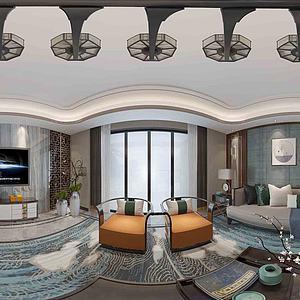 现代客厅全景模型