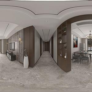 新中式餐客厅全景模型