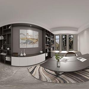 新中式书房全景模型