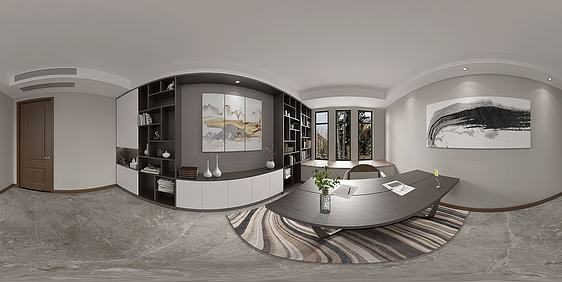 3d新中式書房全景模型