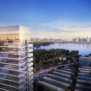 現代辦公樓鳥瞰圖模型3d模型