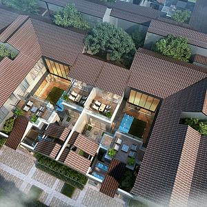 現代古建別墅庭院模型3d模型