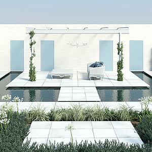 屋顶花园庭院景观绿化模型3d模型