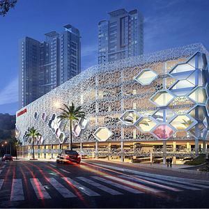3d現代商業街模型