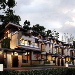 3d新中式別墅模型