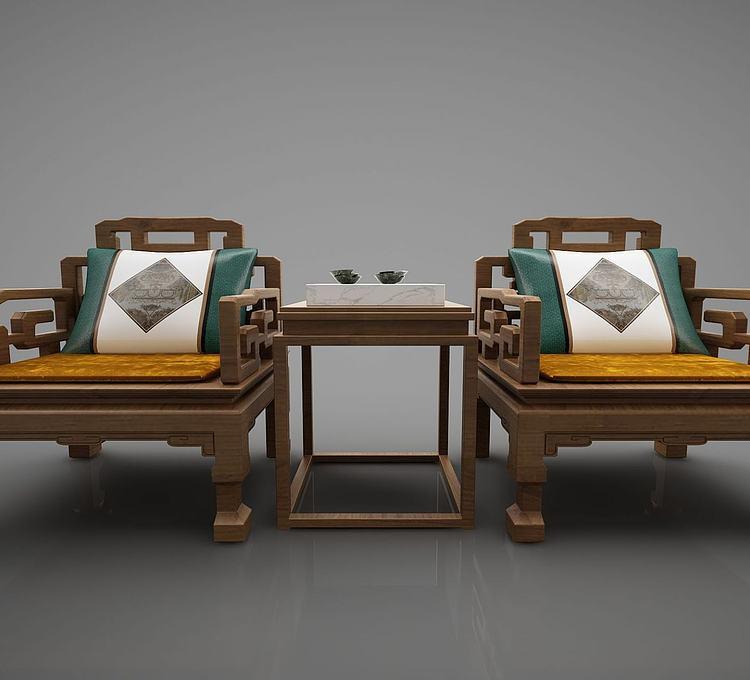 新中式单人沙发组合