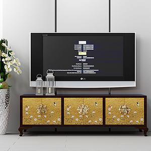現代原木電視柜組合模型3d模型