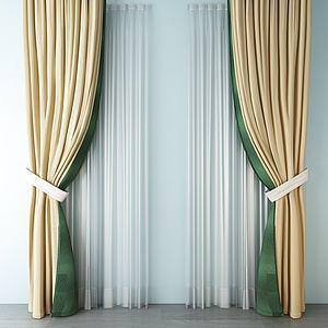 3d欧式丝绸窗帘模型