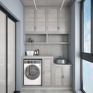 阳台洗衣房3d模型