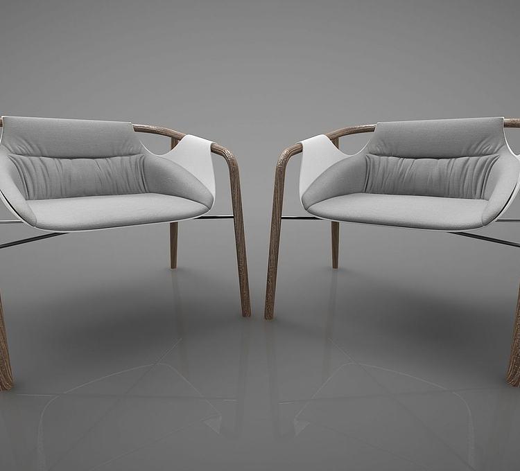 新中式风格单椅组合