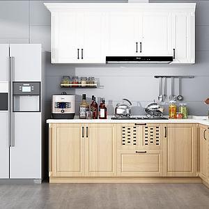 3d現代家庭廚房模型