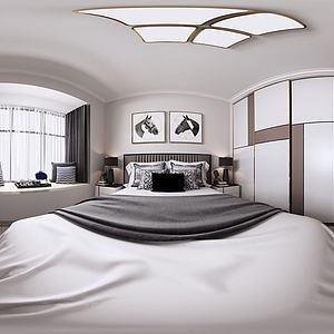 现代北欧全景主卧室模型