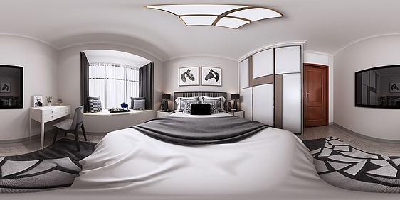 3d現代北歐全景主臥室模型