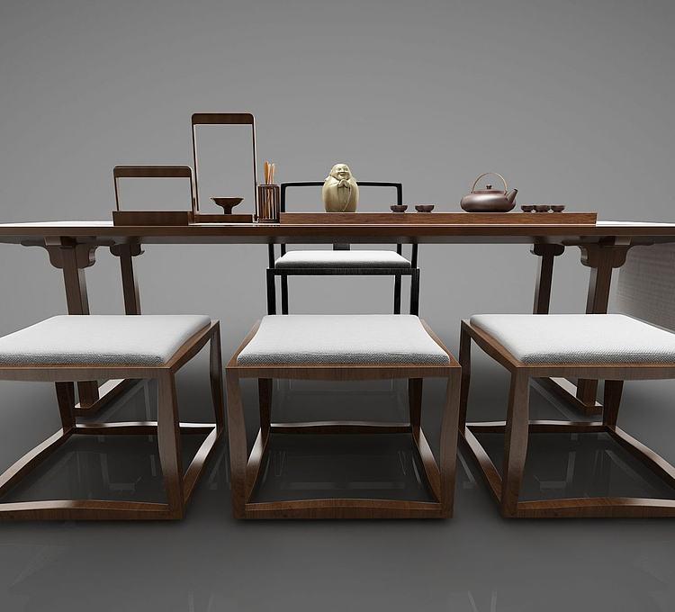 新中式书桌桌椅组合