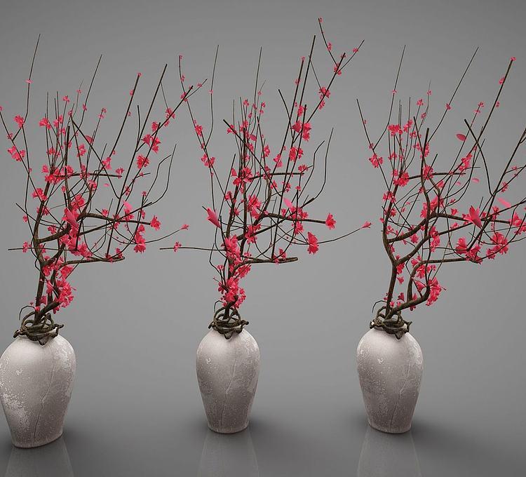 新中式风格盆栽梅花盆景