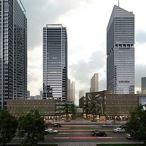 现代办公商业街模型3d模型