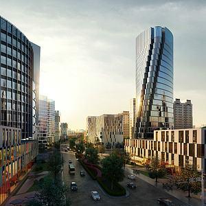 现代办公楼商业街模型3d模型