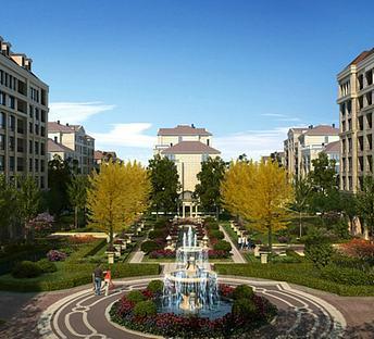 现代小区景观喷泉