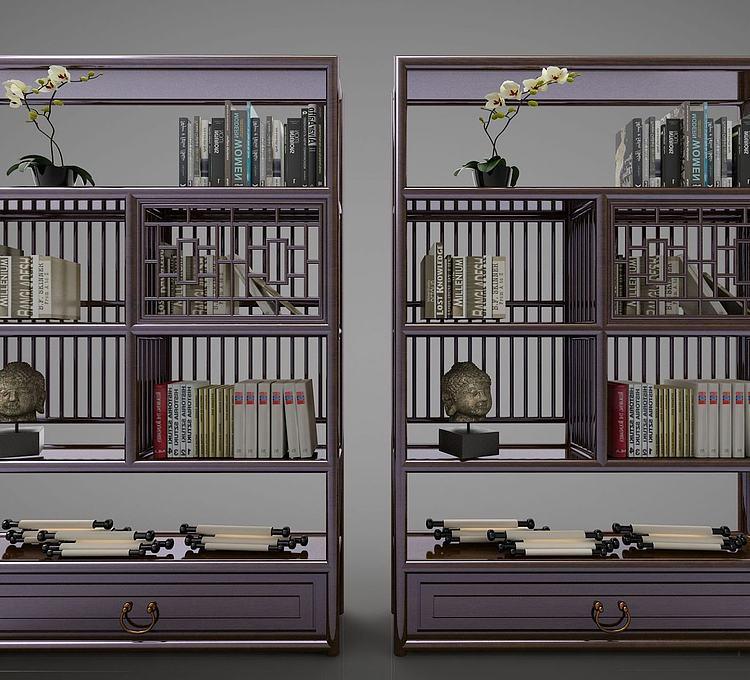 新中式装饰书架博古架