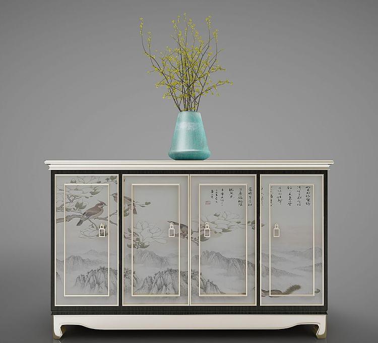 新中式装饰柜边柜