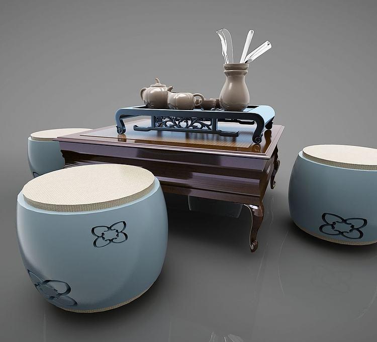 新中式休闲桌边几凳