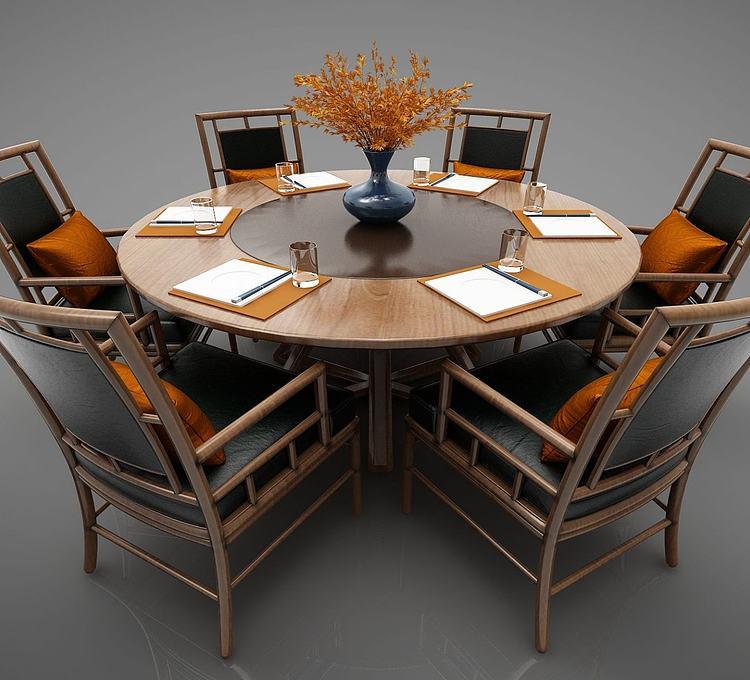 新中式风格餐桌圆桌