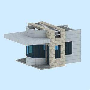 公司單位門衛保安亭模型3d模型