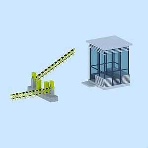 公司門衛保安亭模型3d模型