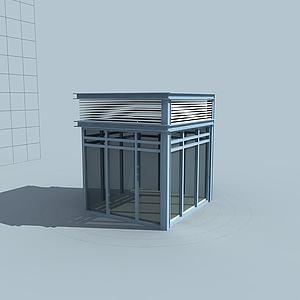 學校門衛保安亭模型3d模型