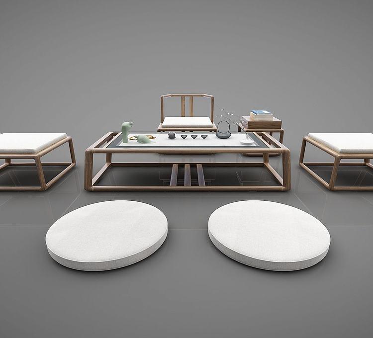 新中式茶室坐垫桌椅