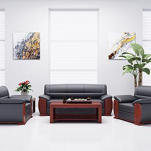現代經典辦公沙發茶幾模型3d模型