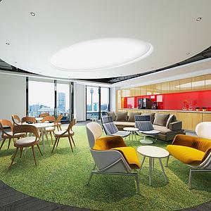 现代公司休息区候客厅3d模型