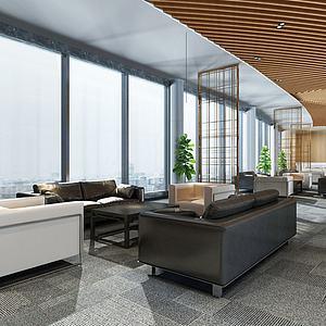 现代公司休息区会客厅3d模型