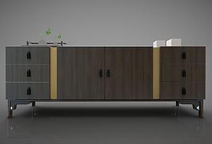新中式风格边柜模型3d模型
