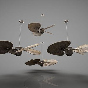 3d新中式蒲扇吊燈風扇模型