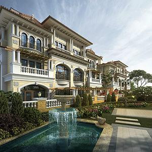 歐式聯排別墅酒店模型3d模型