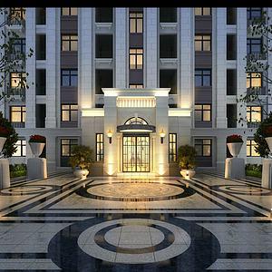 新中式小區住宅入口3d模型