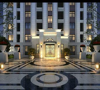 新中式小区住宅入口