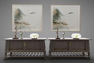 3d新中式风格装饰柜模型