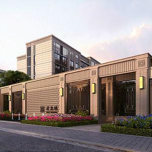 古典住宅小區大門3d模型