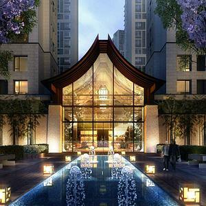 新中式會所酒店模型3d模型
